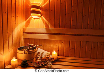 wellness and spa in the sauna - cozy atmosphere in the sauna...
