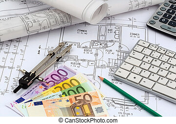 house plan with euro banknotes - a blueprint of an architect...