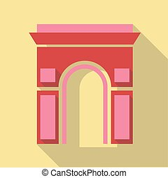 Vector illustration long shadow flat icon of Arc de Triomphe