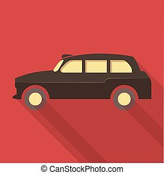 Vector illustration long shadow flat icon of london taxi