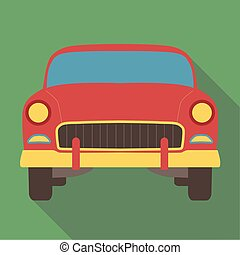 Vector illustration long shadow flat icon of classic american car