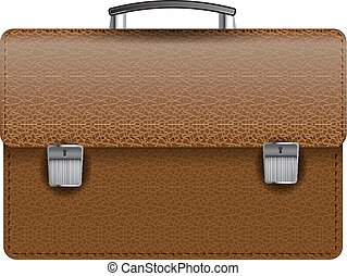 Brown leather briefcase isolated on white photo-realistic vector illustration
