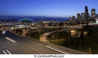 4K Time lapse zoom in traffic Seattle Skyline - 4K Time...