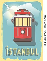 vector illustration railway of istanbul turkey on retro style poster or postcard.