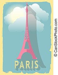 vector illustration eiffel tower of paris france on retro style poster or postcard.