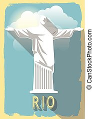 vector illustration jesus statue of rio de janeiro on retro style poster or postcard.