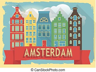 vector illustration houses of amsterdam on retro style...