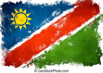 oil painting grunge effected illustration of NAMIBIA flag