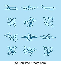 Airplane thin line icons - Airplane and aircraft thin line...