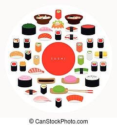 Japanese food sushi poster Sushi around red circle on white...