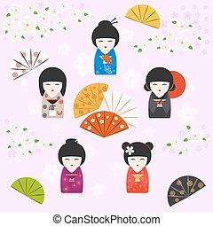 japoneses, kokeshi, bonecas, background, ,