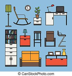 Furniture and home accessories icons Furniture flat outline...