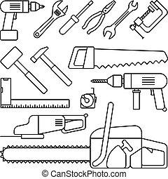 Tools thin line icons