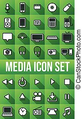vector long shadow Electronic Media Flat Icons