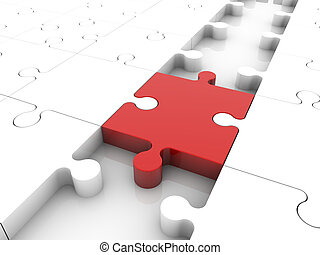 Concept with puzzle pieces in red