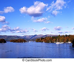 Lake Windermere - Yachts and boats moored on the lake with...