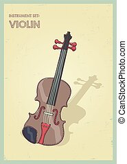 vector hand drawing colored violin or viola illustration