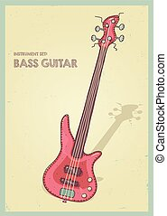 vector hand drawing colored bass guitar illustration