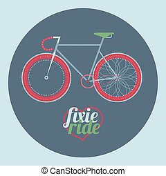 vector illustration fixed gear bicycle illustration (fixie)