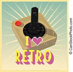 Old Black Joy Stick with Red Button on retro poster