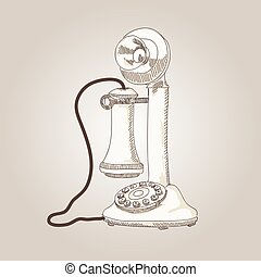 vector sketch hand drawing antique telephone illustration