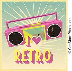 i love retro sign with cassette deck on postcard or poster....