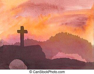 Cristo, cruz, escena, Ilustración,  Jesús, acuarela, Pascua