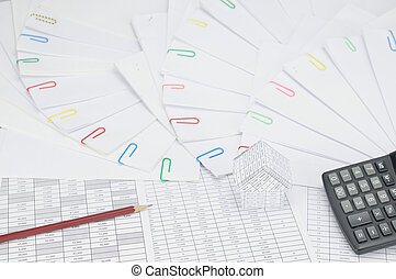 House with pencil have document with colorful paperclip place curve