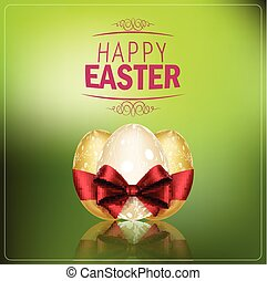 Easter eggs with a red ribbon