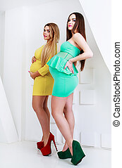 pregnant women - two beautiful pregnant women, studio shot