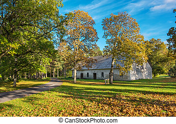 Autumn park Padise, Estonia, Europe - View of Abbey park and...