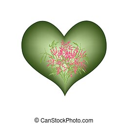 Gree Heart Shape With A Pink Flower - Love Concept,...