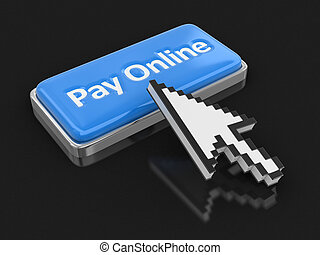 Cursor and button Pay on-line. Image with clipping path