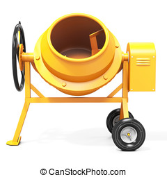 3d detailed cement mixer isolated on white background