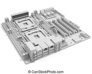 3d generic computer motherboard on white background
