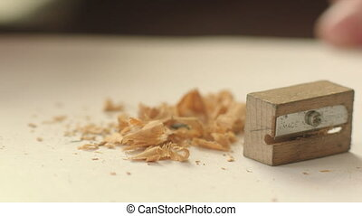 Wooden Sharpener, Graphite Pencil and Shavings - Wooden...