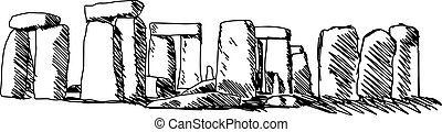 illustration vector doodle hand drawn of sketch stonehenge...