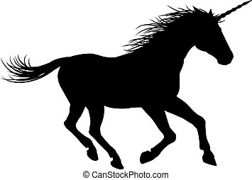 Unicorn Horse Galloping - Unicorn mythical horse in...