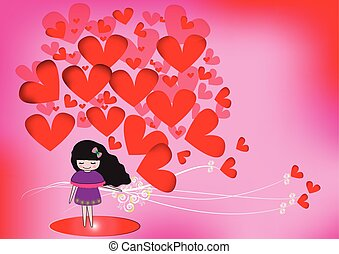 Cute girl with red hearts on a pink background.