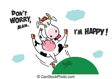 Funny crazy flying cow. Comic cartoon image with lettering....