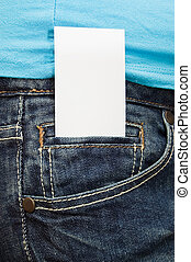Blank business card in jeans pocket