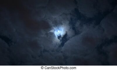 Full Moon on night sky with clouds