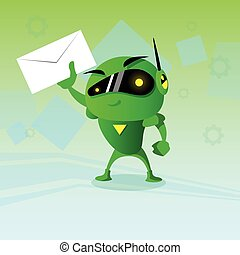 Robot Hold Envelope Email Inbox Message Business Send Mail...
