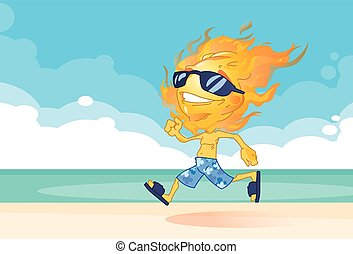 Sun Summer Boy Fire Head Running On Beach Cartoon Character