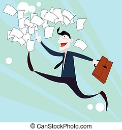 Happy Business Man Run Throw Documents, Success Concept