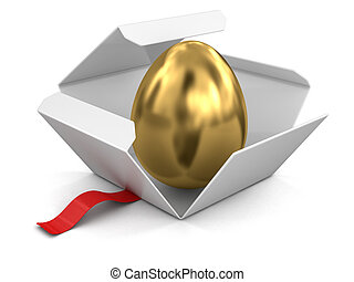 Open package with golden egg Image with clipping path