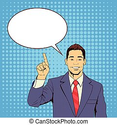 Business Man Point Finger To Chat Bubble Pop Art Colorful...