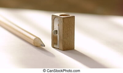Man Taking Pencil Sharpener and Graphite Pencil - Vintage...