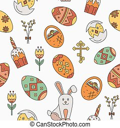 Vector seamless pattern with Easter celebration elements...