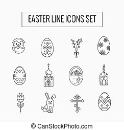 Vector icons set of different Easter celebration elements...